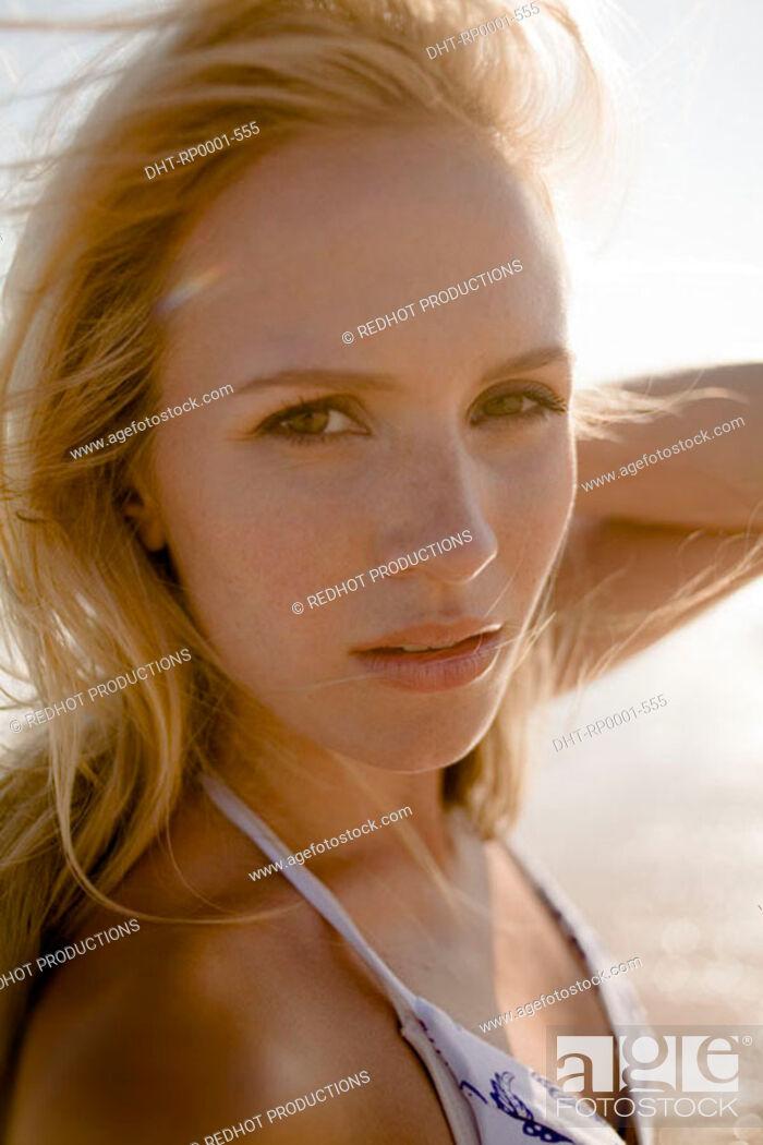 Stock Photo: One women on beach.