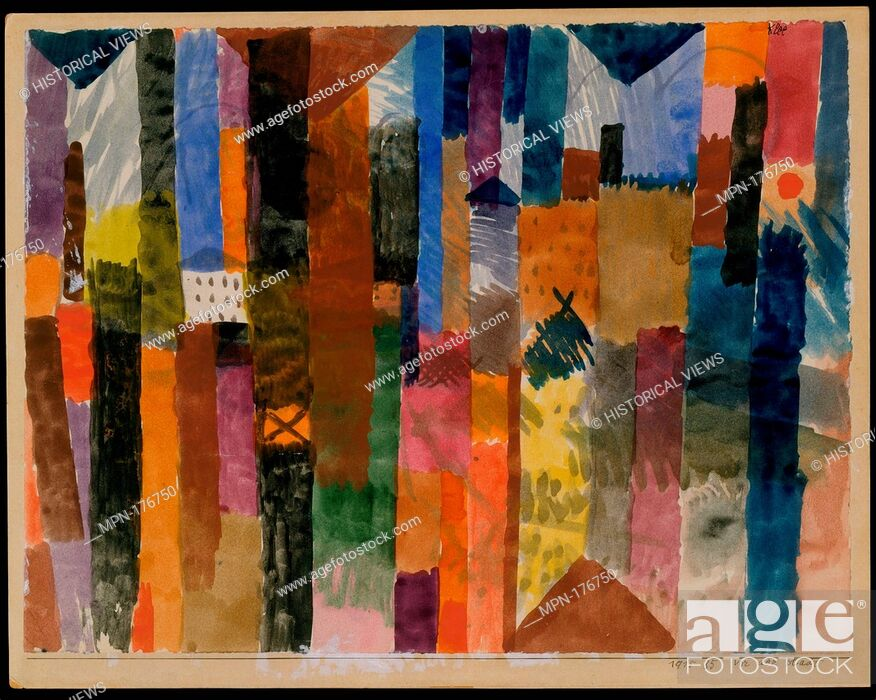Stock Photo: Before the Town. Artist: Paul Klee (German (born Switzerland), Münchenbuchsee 1879-1940 Muralto-Locarno); Date: 1915; Medium: Watercolor on paper mounted on.