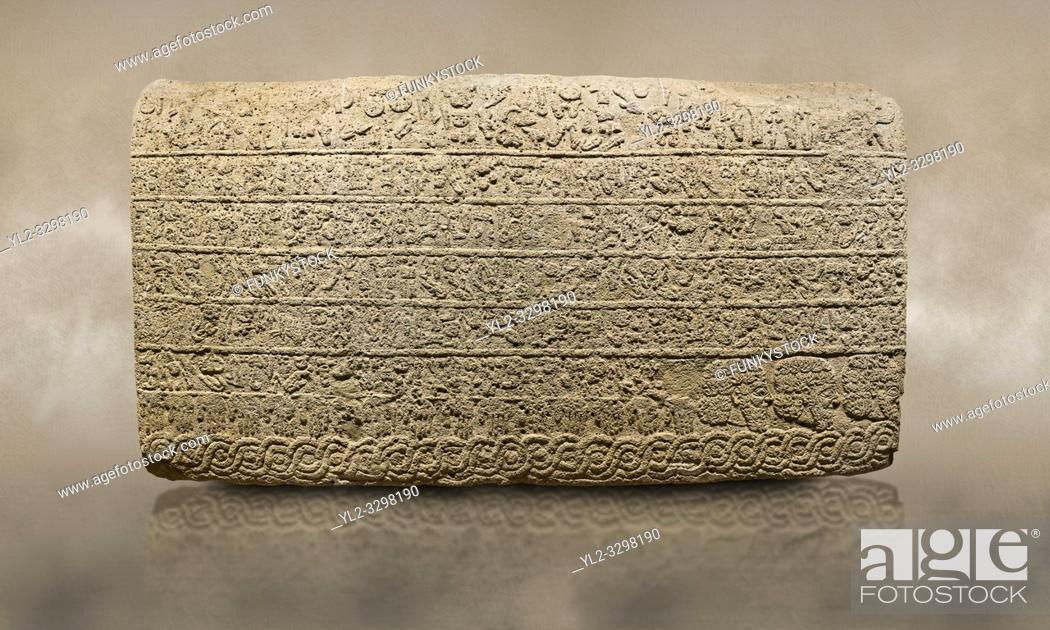 Stock Photo: Photo of Hittite sculpted Orthostats panel from the Long Wall. Limestone, Kargarmis, Gaziantep, 900 - 700 BC, Hieroglyph.