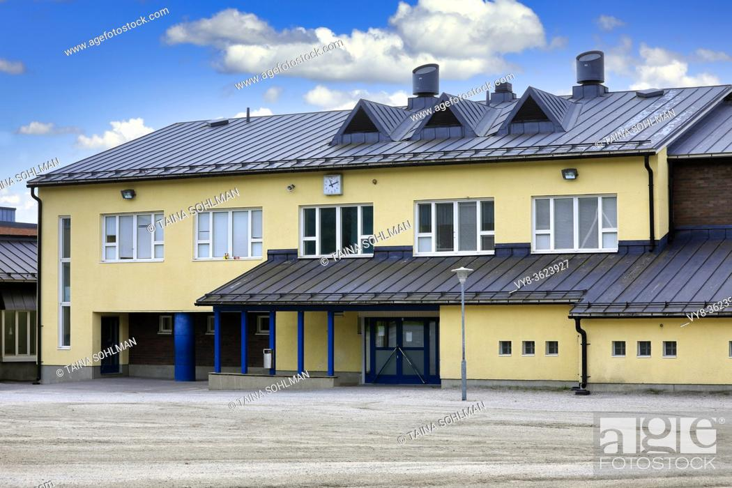 Stock Photo: Alhainen school, Alhaisten Koulu, Salo, Finland in early August. Alhainen school is a primary school teaching grades 1-6.