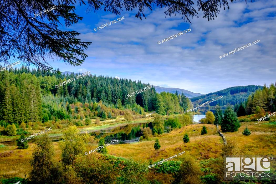 Stock Photo: Autumn colours at Loch Drunkie in the Loch Lomond and Trossachs National Park, Scotland.