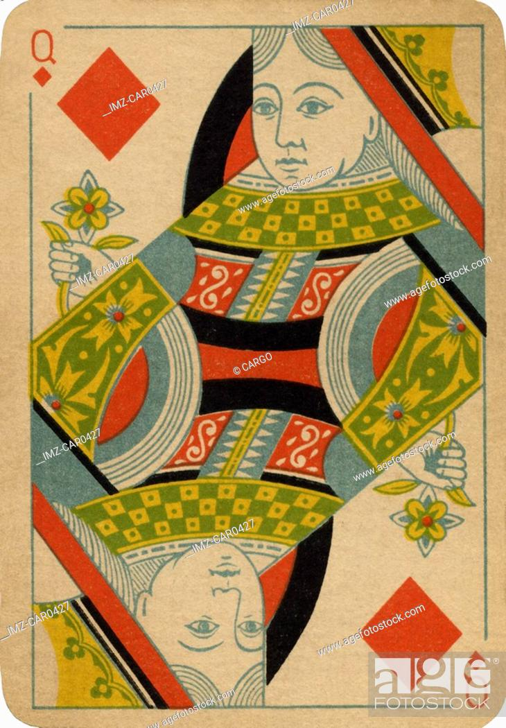 Stock Photo: Queen of Diamonds vintage playing card.