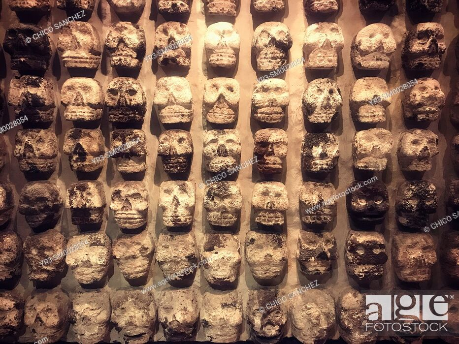 Stock Photo: Skulls representing Death and human sacrifices decorate Templo Mayor museum in Mexico City, Mexico.