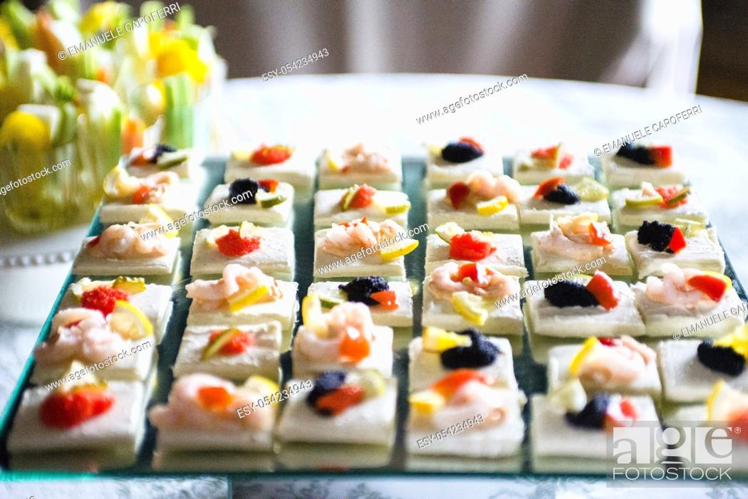 Stock Photo: Table laden with shrimp appetizers for banquet.