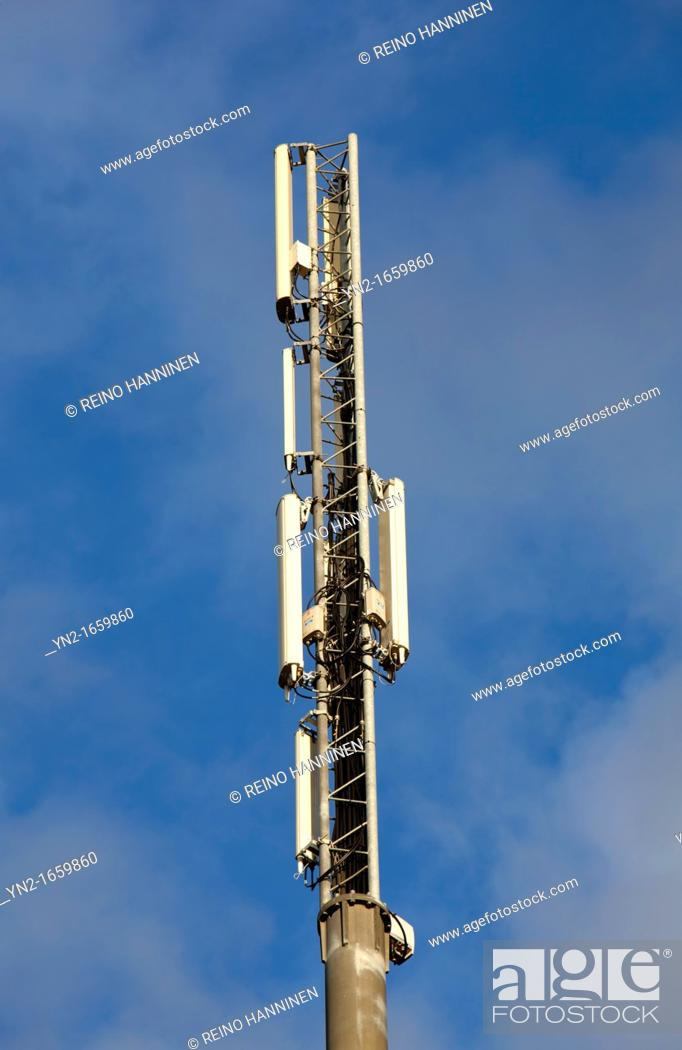 Cellular network antennas on top of a antenna mast Location Oulu