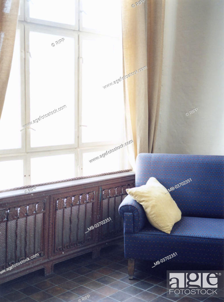 Stock Photo Living E Windows Sofa Blue Detail At Home Privately Rooms Radiators Radiator Disguise Couch Silence Furniture