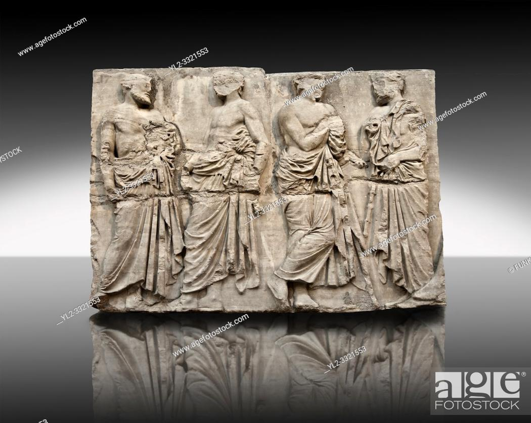 Imagen: Marble Releif Sculptures from the east frieze around the Parthenon Block IV 20-23. From the Parthenon of the Acropolis Athens.