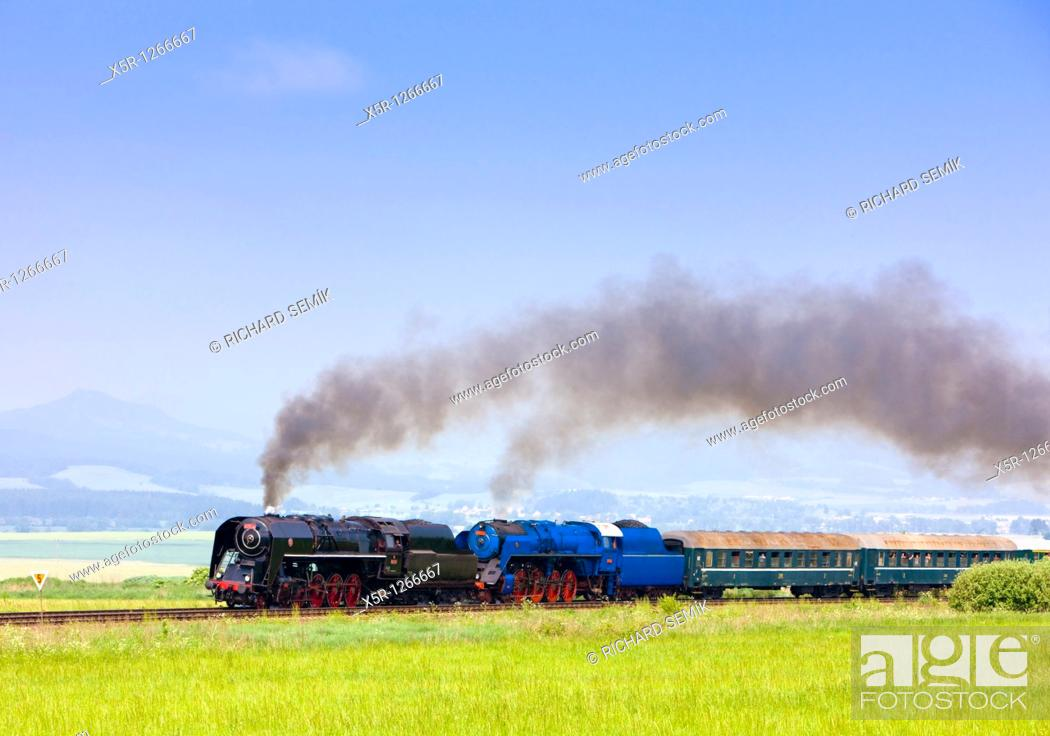 Stock Photo: passenger train with steam locomotives 475 101+498 022, Slovakia.