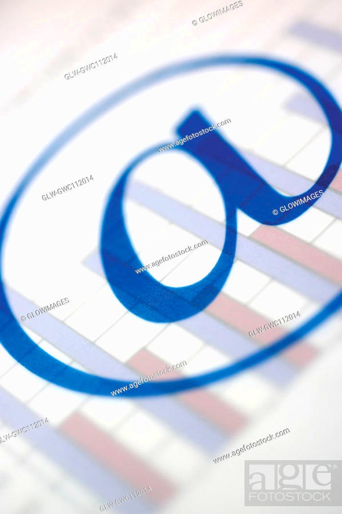 Stock Photo: Close-up of an 'at' symbol on a barograph.