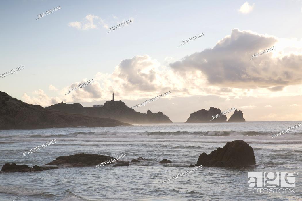 Stock Photo: Vilan Point Lighthouse; Costa de la Muerte; Galicia; Spain.