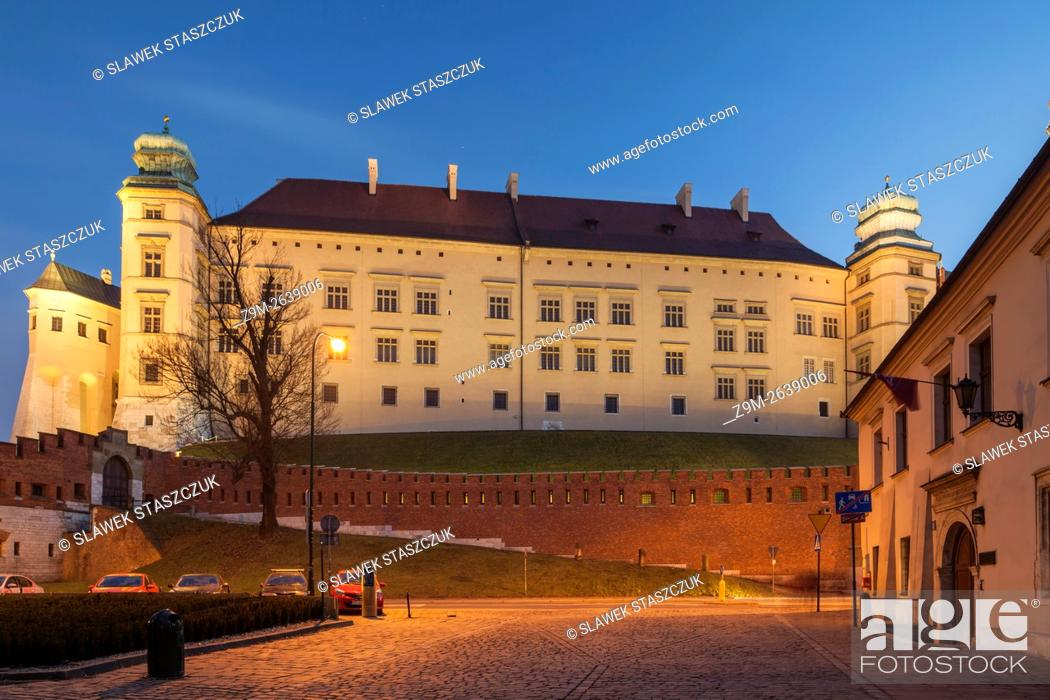 Stock Photo: Evening at Wawel Royal Castle in Krakow, Malopolska, Poland.