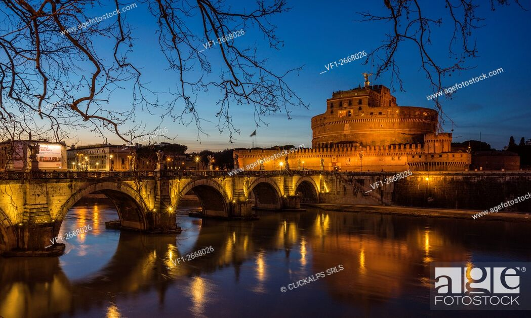 Stock Photo: Rome, Lazio, Italy. Castle St. Angelo in the blue hour.