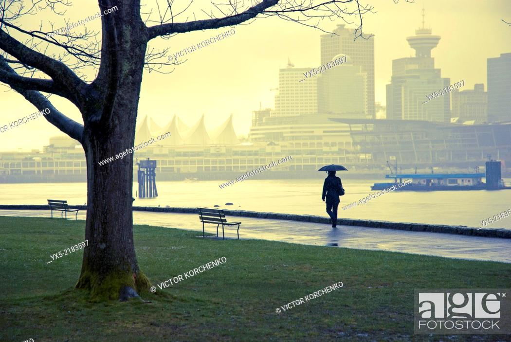 Stock Photo: Sidewalk along the Coal Harbour shore in Stanley Park, Vancouver, BC.
