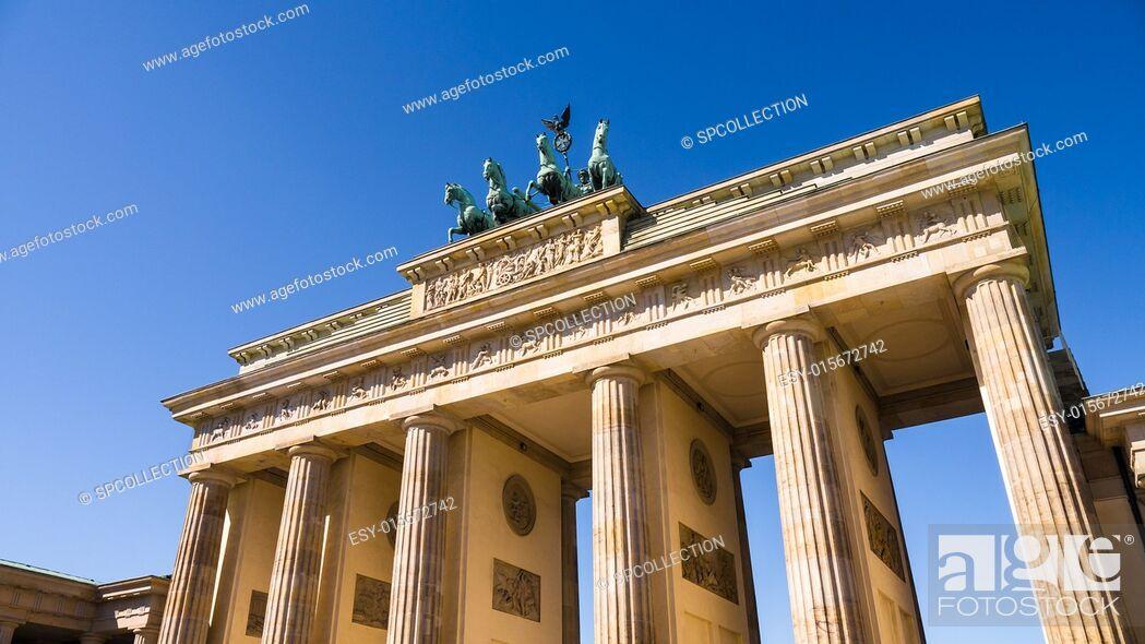 Stock Photo: brandenburger tor berlin with very blue summer sky.