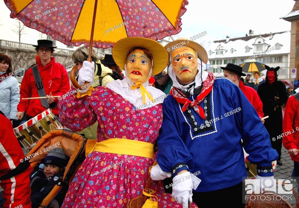 Stock Photo: Carnival schwyz switzerland.