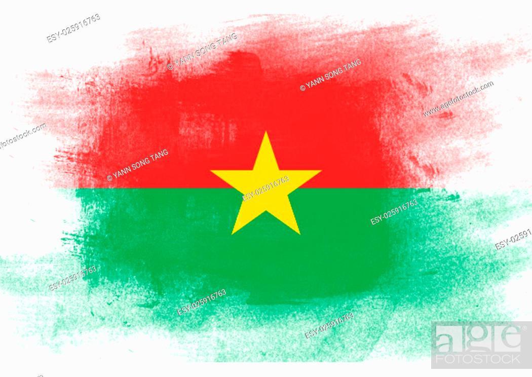 Stock Photo: Flag of Burkina Faso painted with brush on solid background,.
