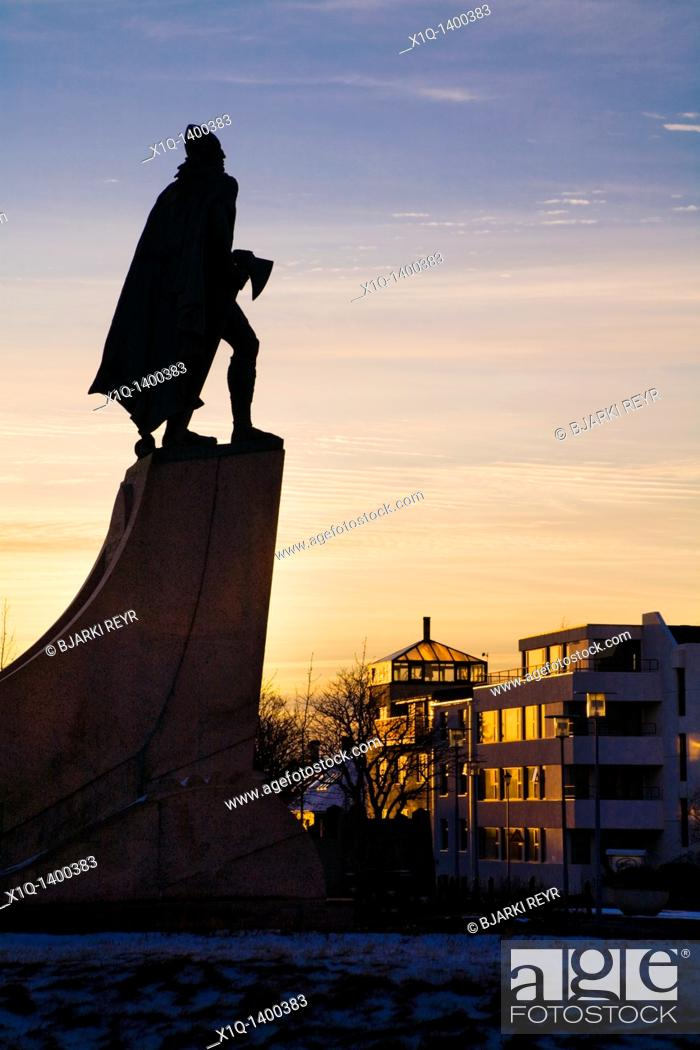 Stock Photo: Statue of Leifur Eiriksson Leif Ericson at sunset  Hallgrimskirkja church, downtown Reykjavik, Iceland  He was a Norse explorer who was probably the first.