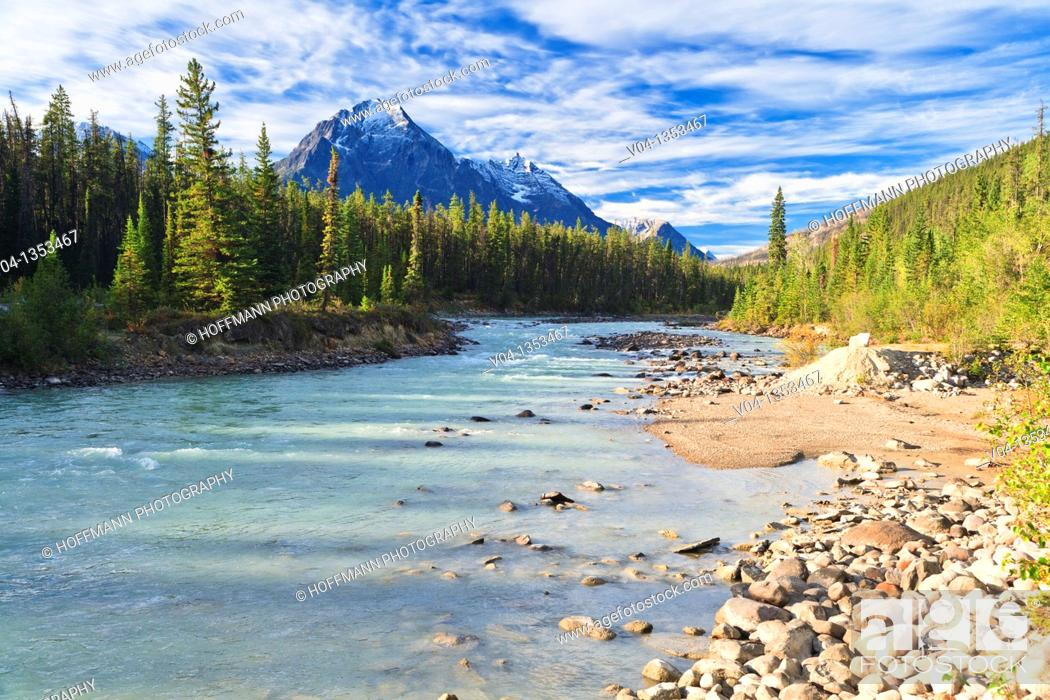 Stock Photo: Whirlpool River and the Canadian Rocky Mountains in the Jasper National Park, Alberta, Canada.