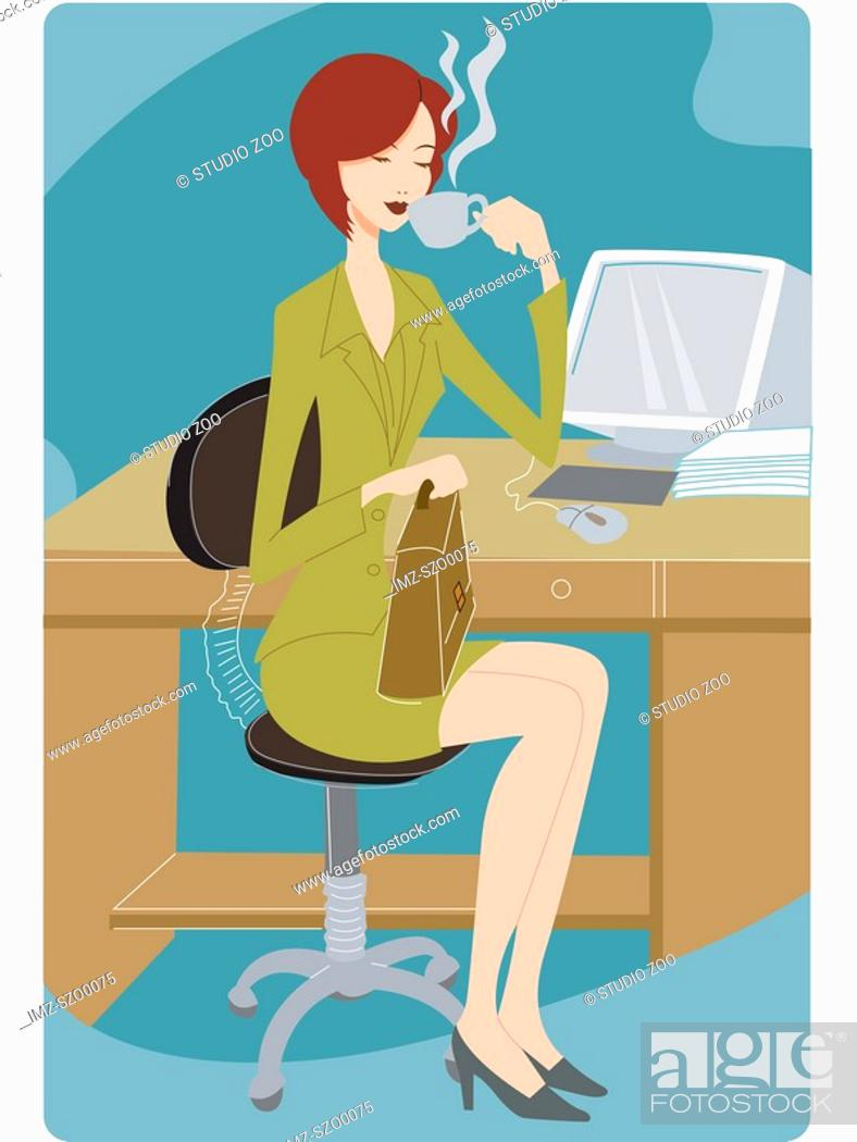 Stock Photo: Businesswoman taking a coffee break at her desk.