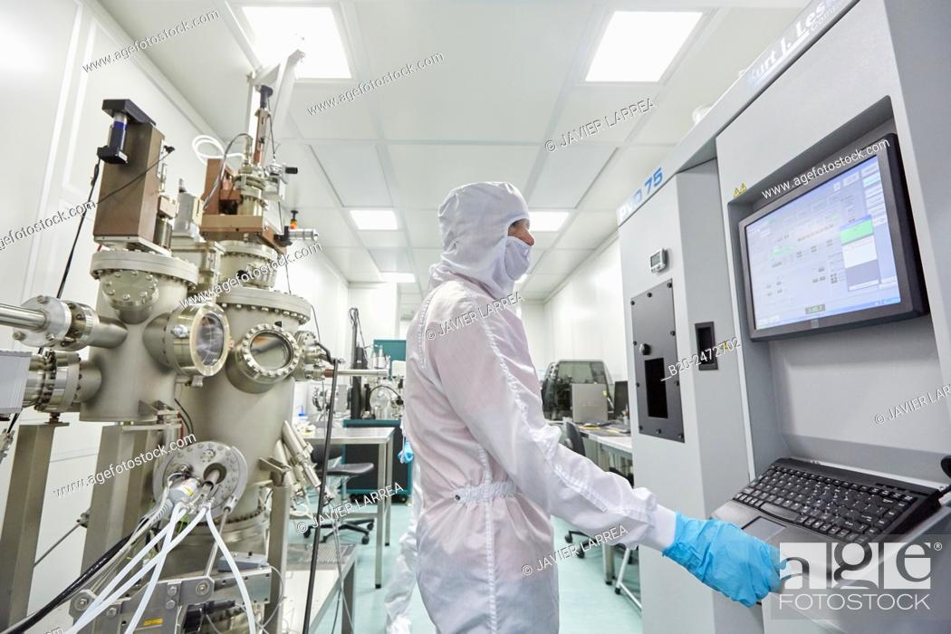 Stock Photo: Kurt Lesker eBeam/thermal deposition system and Createc UHV deposition system. Cleanroom. Nanotechnology. Laboratory. CIC nanoGUNE Nano science Cooperative.