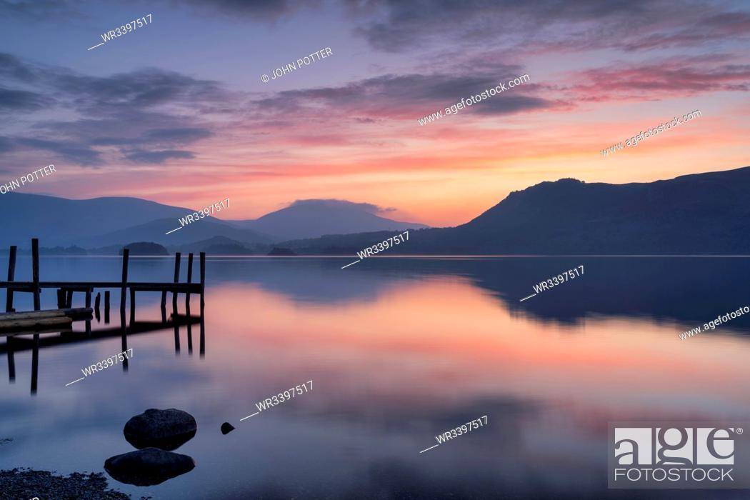 Stock Photo: Brandlehow Jetty at dawn, Derwent Water, Lake District National Park, UNESCO World Heritage Site, Cumbria, England, United Kingdom, Europe.