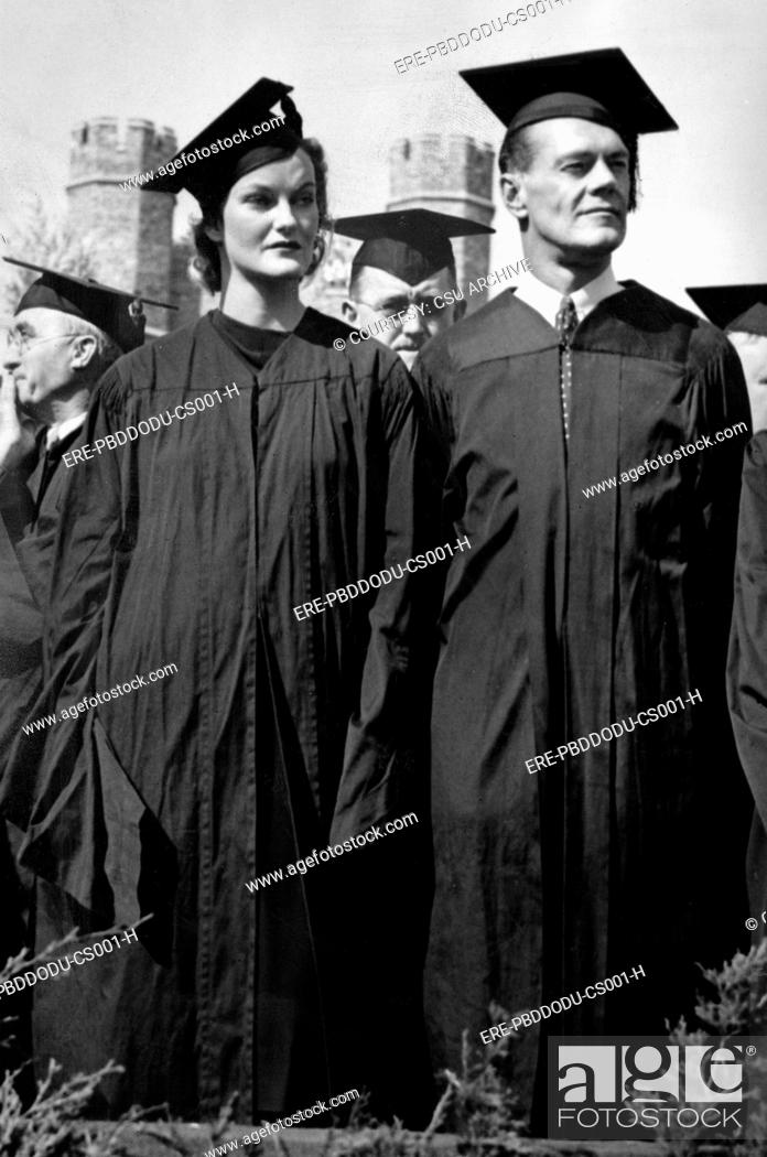 Doris Duke and husband James H R  Cromwell at Duke University during