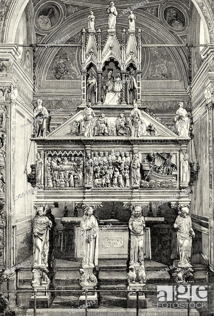 Stock Photo: Remains of the Three Kings in the Basilica of San Eustorgio in Milan, Lombardy Region. Italy. Old XIX century engraved illustration from La Ilustracion Española.