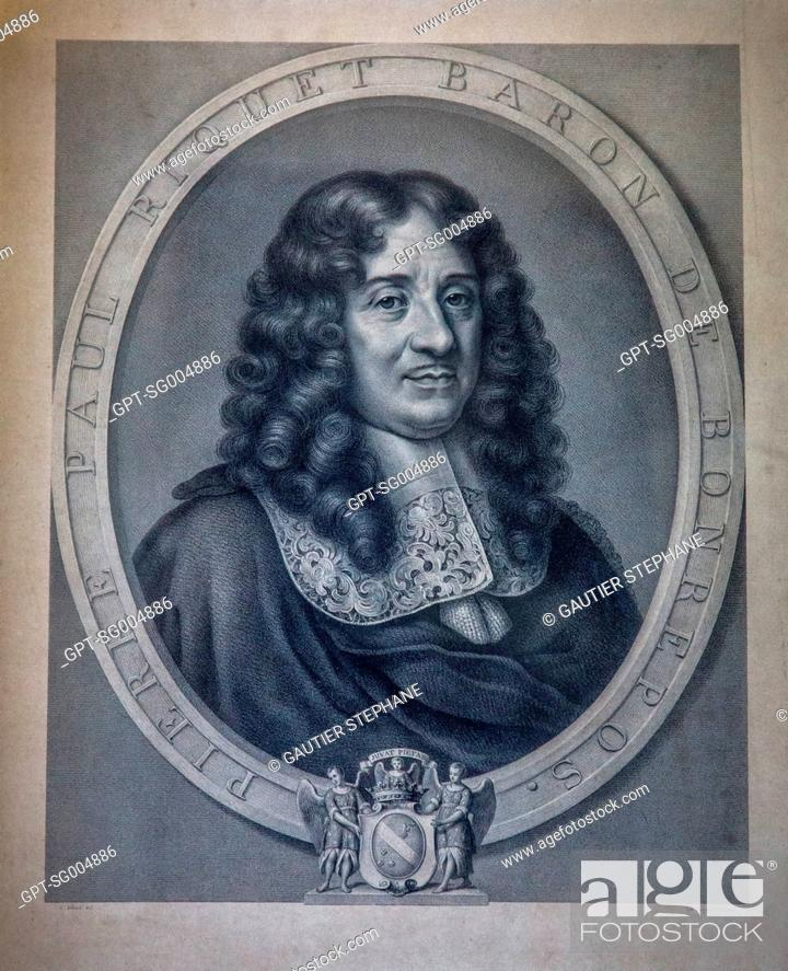 Stock Photo: ENGRAVING OF PIERRE PAUL RIQUET, DEPARTMENT OF HISTORICAL ARCHIVES OF THE CANAL DU MIDI, TOULOUSE, (31) HAUTE-GARONNE, FRANCE.