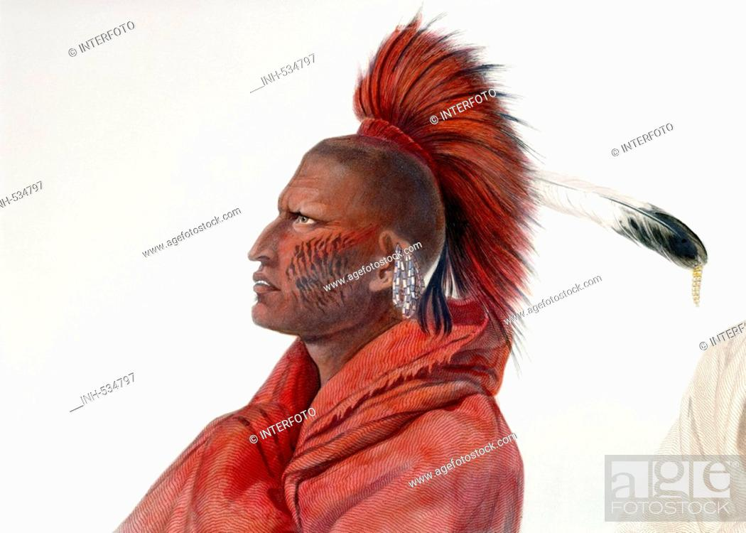 Stock Photo: geography / travel, USA, people, American Indians, tribes, Saki, warrior Wakusasse, colour engraving, after watercolour by Carl Bodmer, (1809 - 1893).