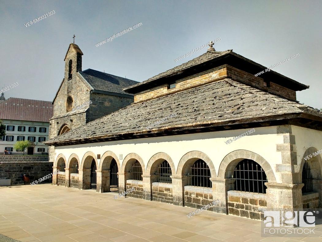 Stock Photo: Santiago chapel. Roncesvalles. Way of St. James. Navarre, Spain, Europe.
