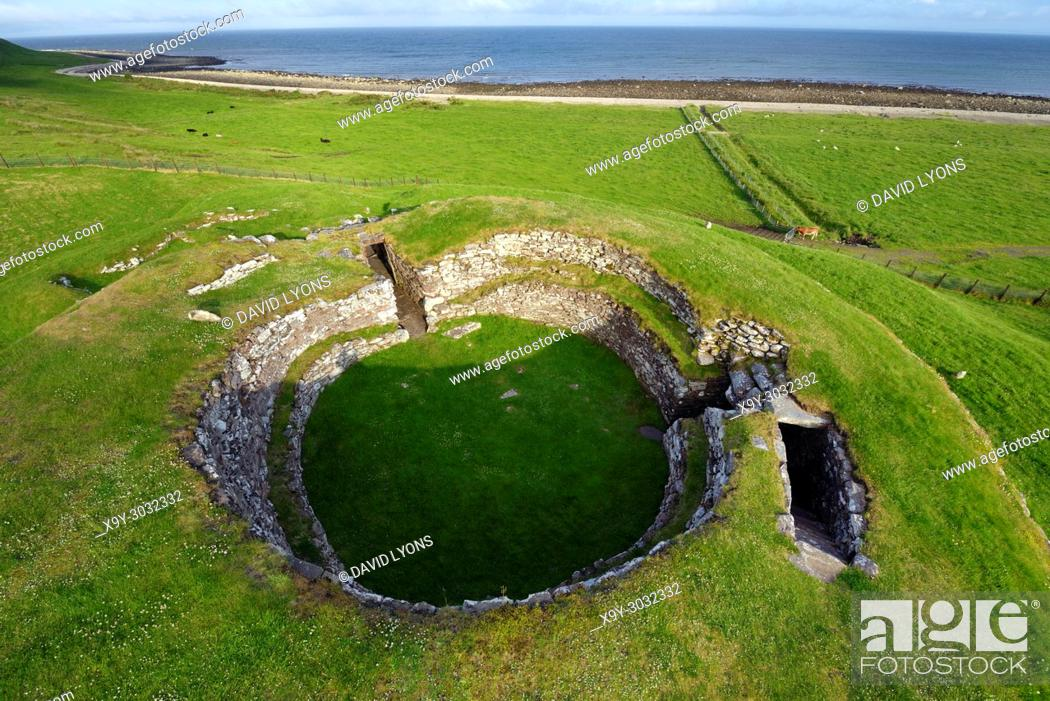 Stock Photo: Carn Liath broch 2000 years fortified homestead on North Sea coast near Golspie, Sutherland, Scotland. Looking south east.