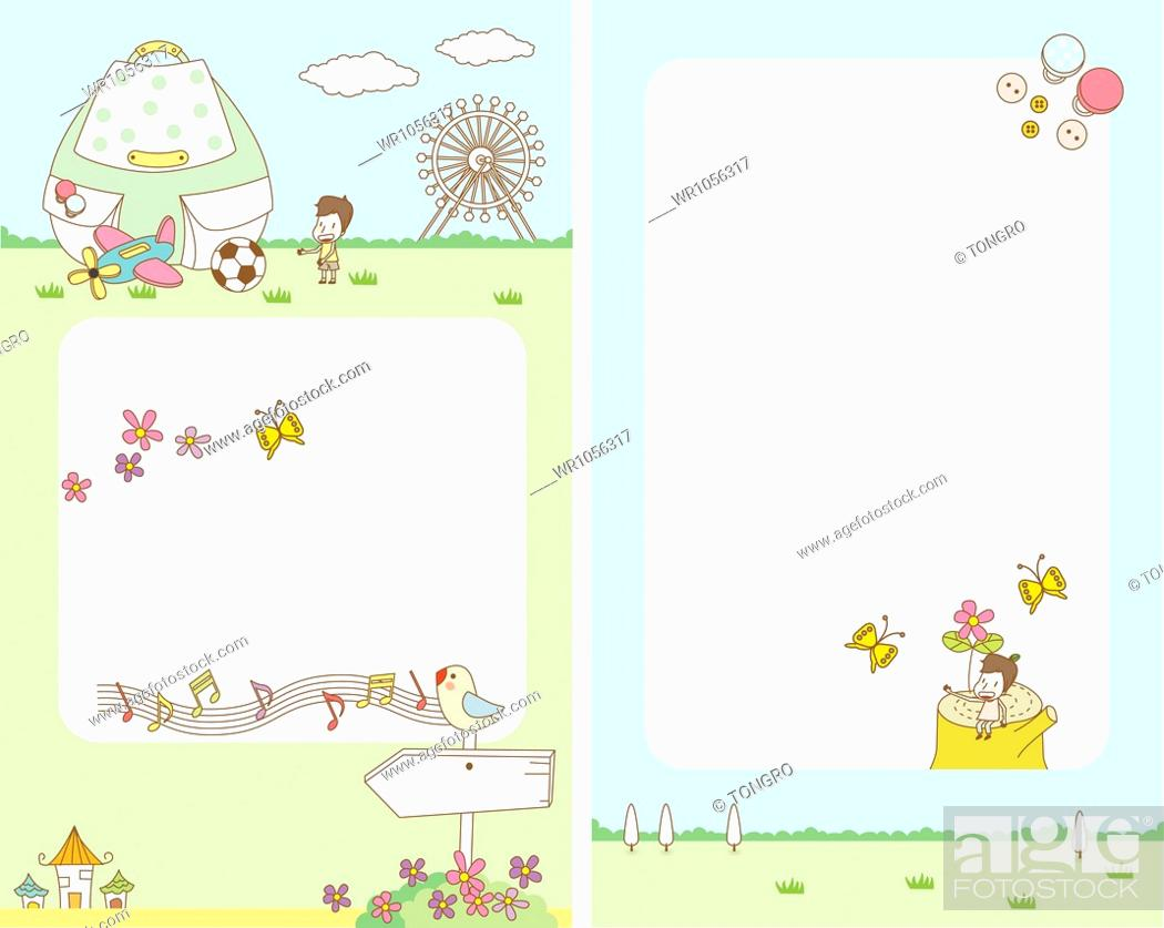 Stock Photo: illustration of card template featuring picnic concept.