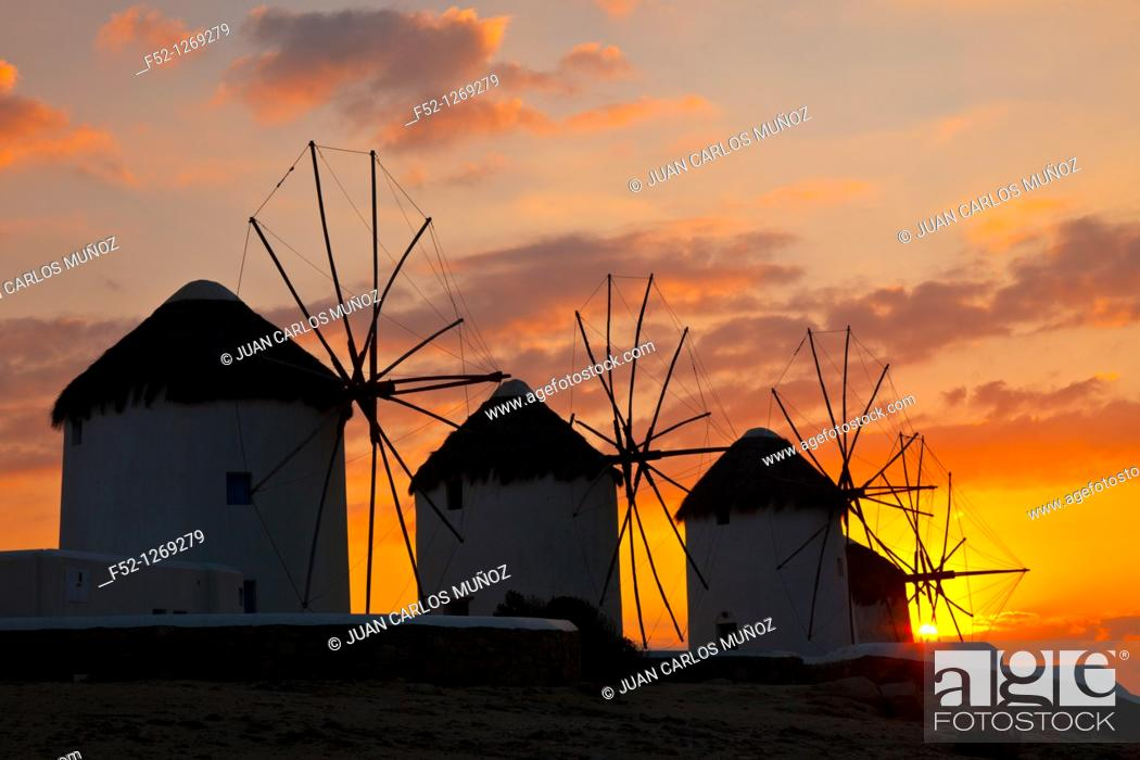 Stock Photo: Windmills, Little Venice District, Mykonos Island, Greece.