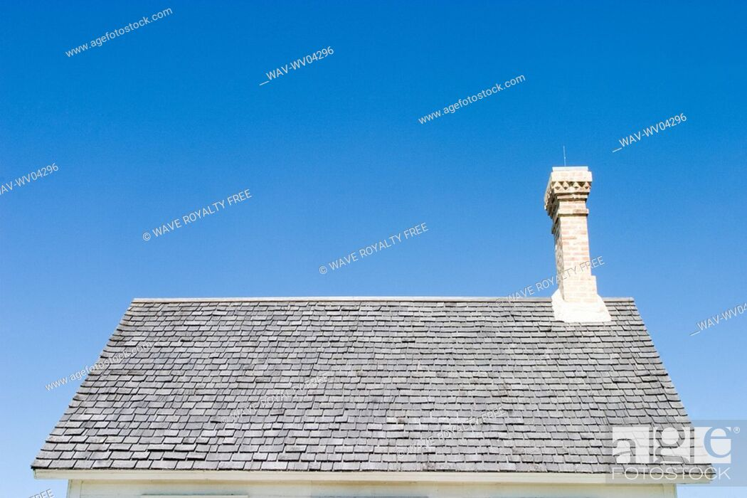 Stock Photo: Roof of old house, Manitoba, Canada.
