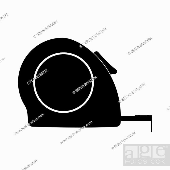 Vector: Tape measure it is black color icon .