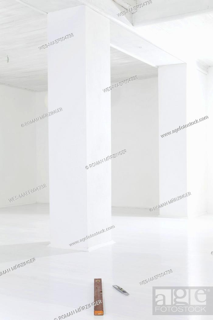 Stock Photo: Empty room with water levels.