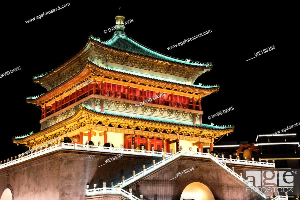 Stock Photo: The Bell Tower of Xi'an, located in the heart of downtown Xi'an was erected in 1384 during the early Ming Dynasty. Shaanxi province of China.