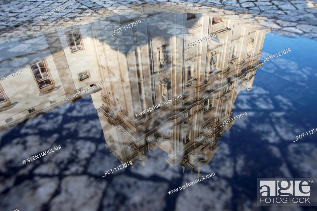 Stock Photo: Water reflection of New Cathedral Se Nova in Coimbra, Portugal.