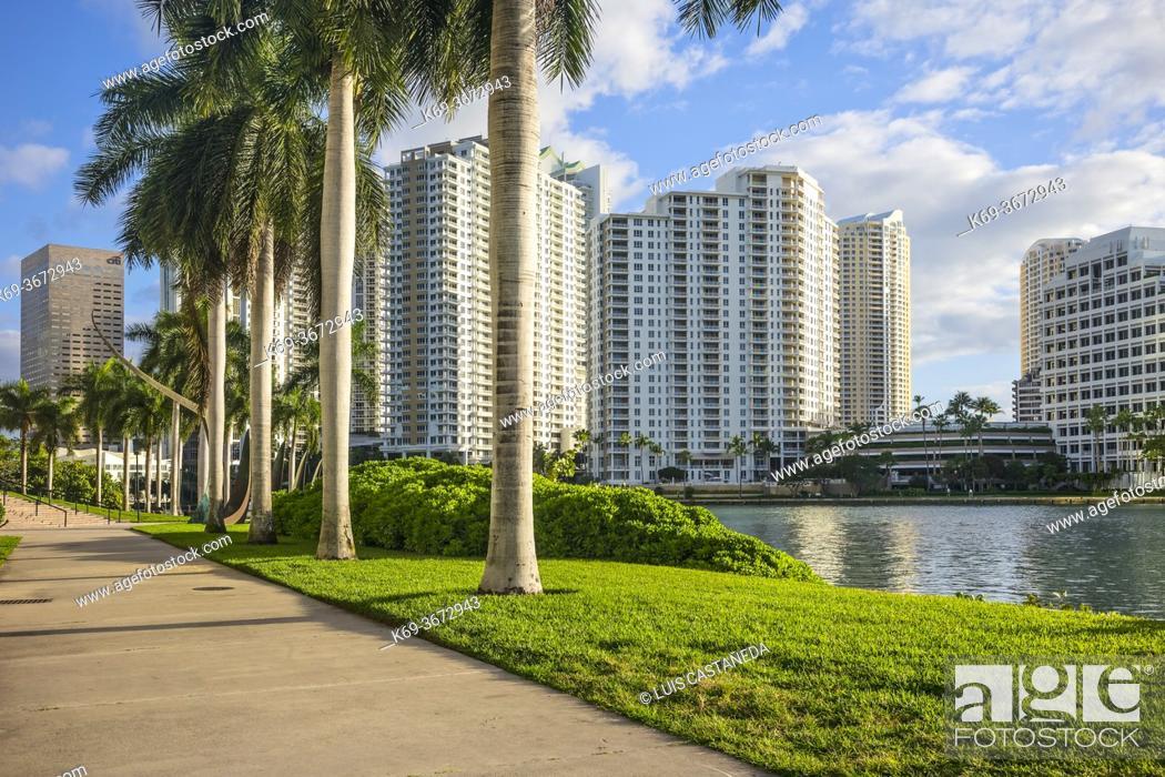 Stock Photo: Brickell Park and Brickell Key. Downtown Miami. Florida. USA.