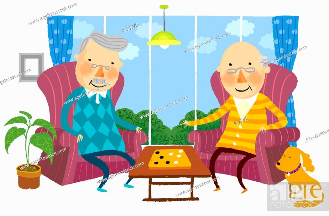 Stock Photo: Two elderly Man playing Indoor game.