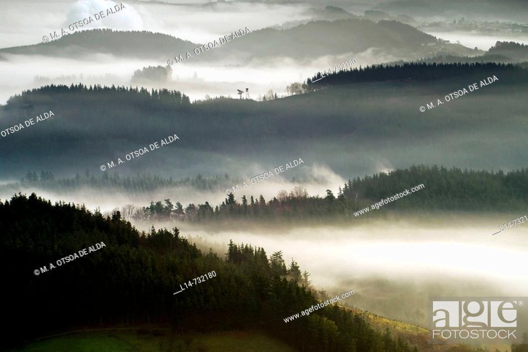 Stock Photo: Fog over Goierri valley. Guipuzcoa, Basque Country, Spain.