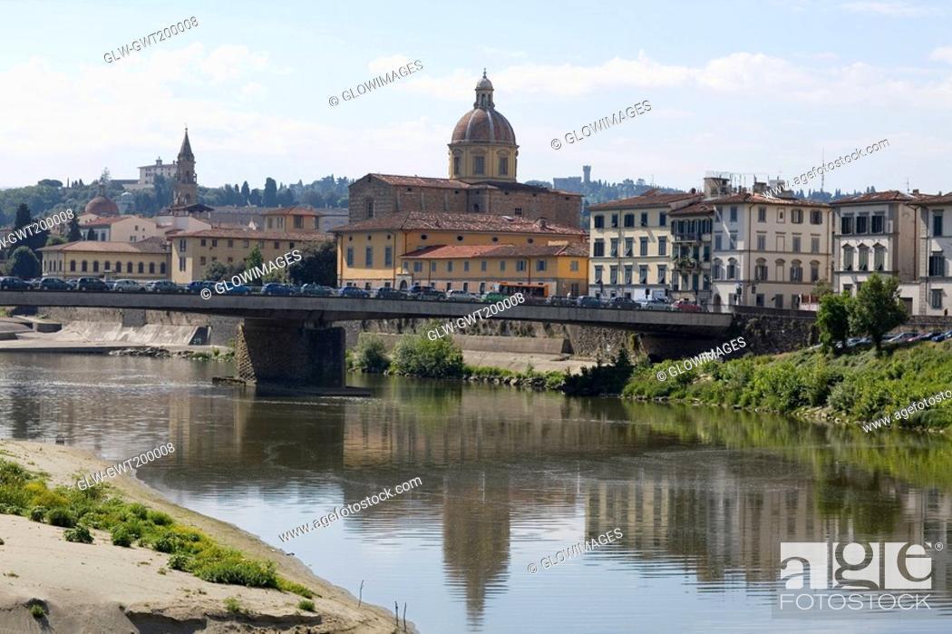 Stock Photo: Bridge across a river, Arno River, Florence, Italy.