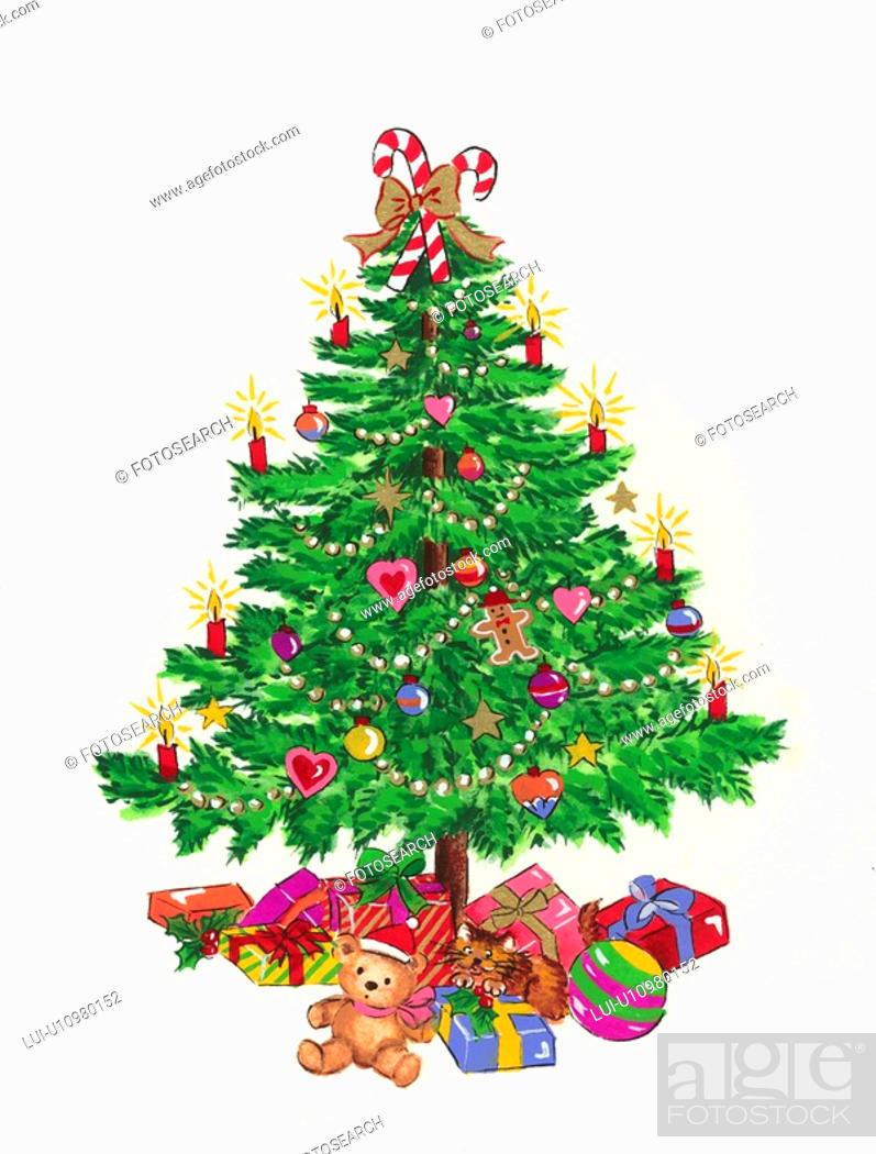 Stock Photo: Presents Under Christmas Tree.