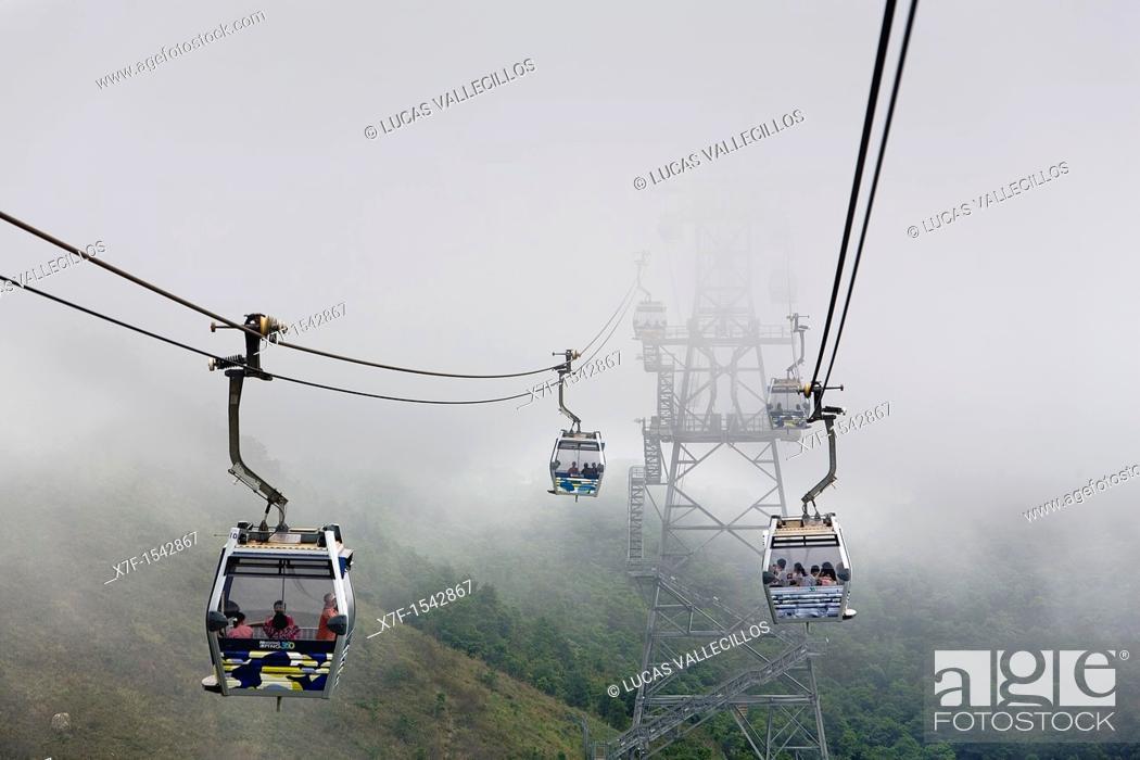 Stock Photo: Cable car from Tung Chung to Po Lin Monastery  Lantau Island,Hong Kong, China.