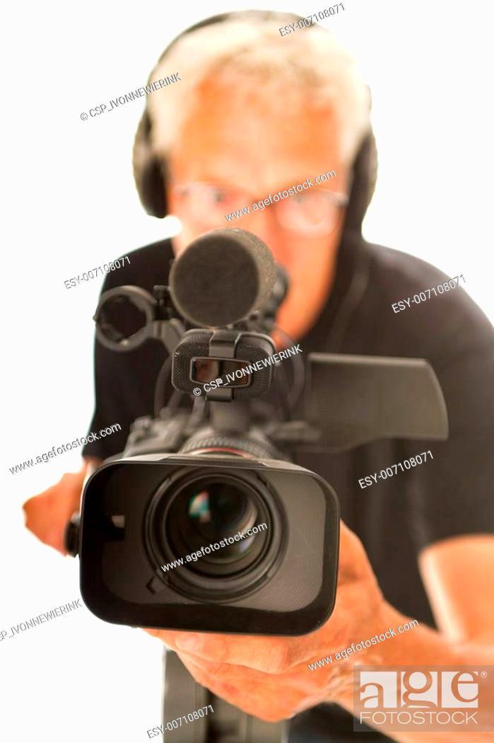 Stock Photo: Video camera man.