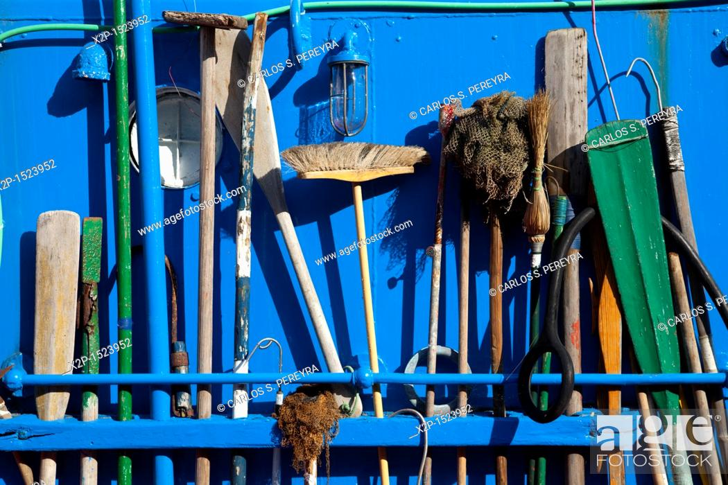 Stock Photo: utensils for cleaning a boat in Basque Country, Spain.