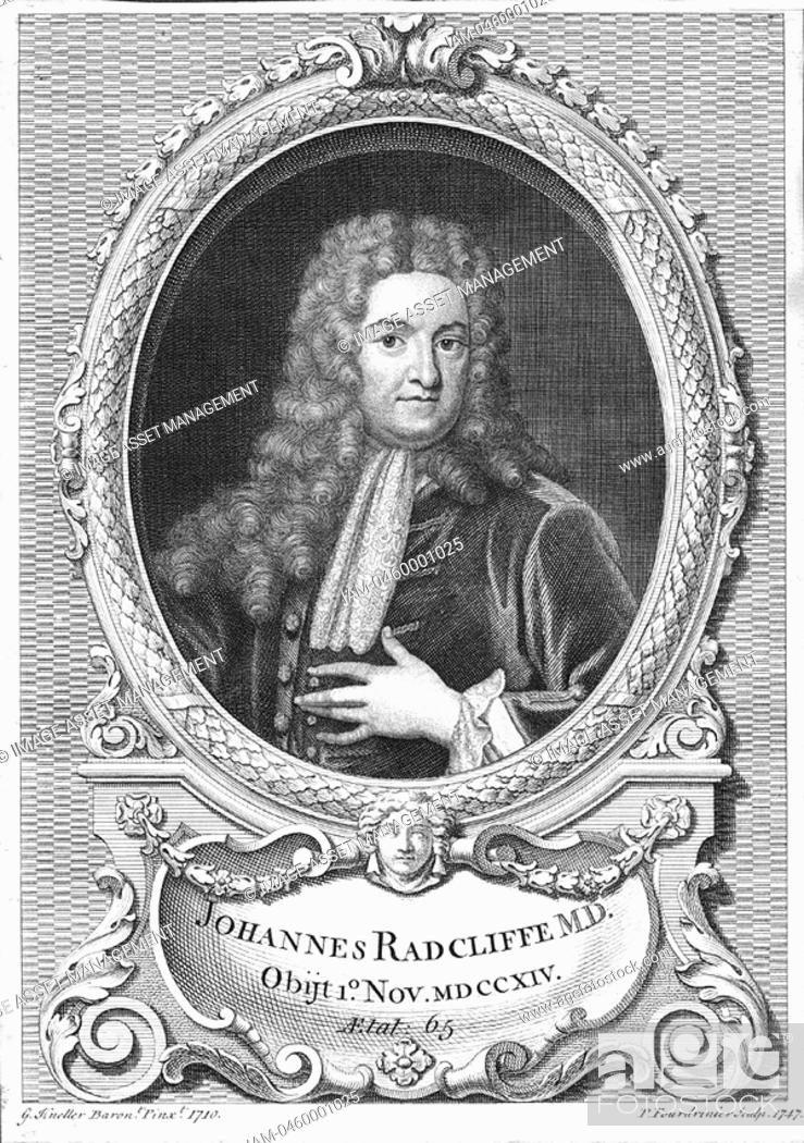 Stock Photo: John Radcliffe 1650-1714, English physician born at Wakefield, Yorkshire, 1710  1747  Attended William III, Mary II and Queen Anne  Radcliffe Infirmary and.