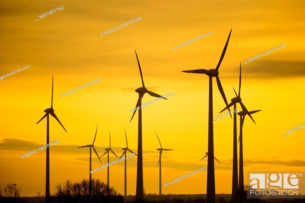 Stock Photo: Wind farm near Amsterdam, The Netherlands.