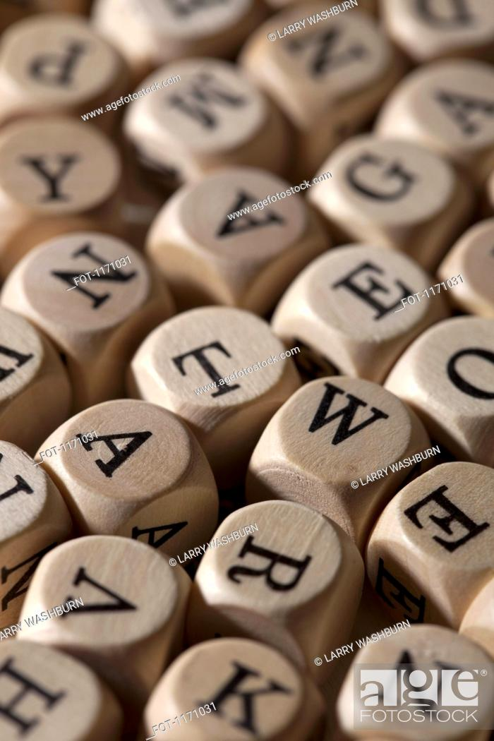Stock Photo: A large group of lettered cubes.