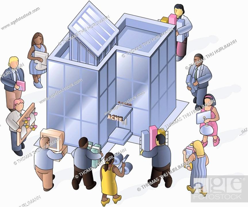 Stock Photo: People carrying things into the office.